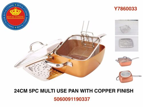 24CM (5PC)   MULTI USE PAN WITH COPPER FINISH