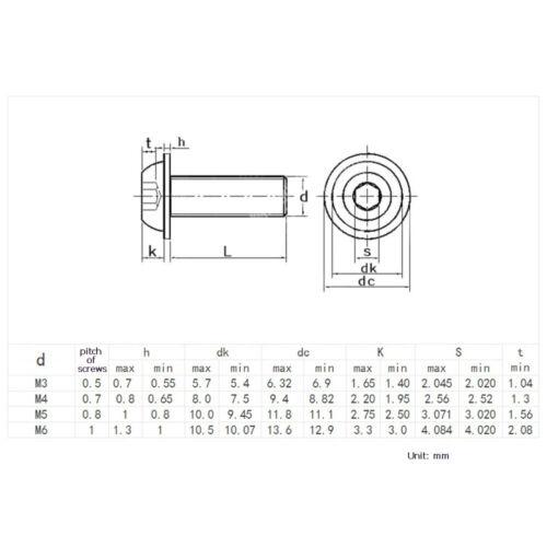 Flanged Button Head Screws M3 M4 M5 M6 mm  Allen Key Bolts A2 Stainless Steel