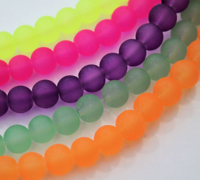 Frosted  Glass Bead Round 8mm Choice of Colour Jewellery Making Craft
