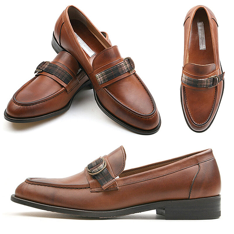 NewStylish mens fashion footwear Glen checkered strap accent loafer, shoes