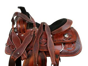 15 16 CUSTOM MADE ROPING SADDLE WESTERN HORSE FLORAL TOOLED LEATHER RANCH TACK