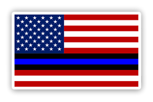 U.S American Flag with Thin Blue Line Sticker Red White and Blue auto decal