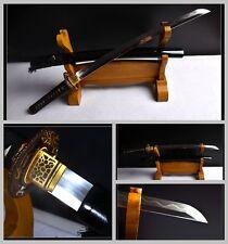 Boutique Japan Samurai Wakizashi Sword Katana Clay Tempered Pattern Steel Sharp