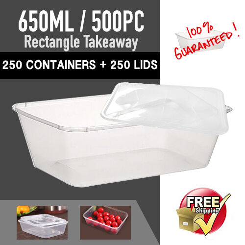Disposable Rectangular Containers 650 ML 250 PC+Plastic Lids 250PCSydney Only