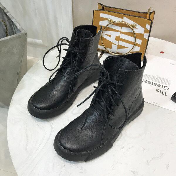 Botines botas Talón Cuadrado Negro Cordones Cómodo 3 Piel Sintético 1685