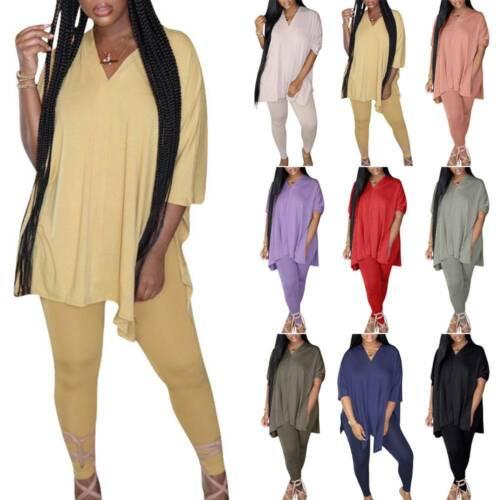 Women Short Sleeve Tracksuit V-Neck Loose Top+Stretch Pants Sets Casual Suit