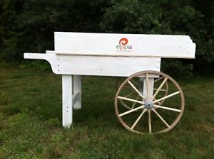 Details About Wooden Produce Cart Natural Wood Or Wine Display With Amish Wagon Wheels