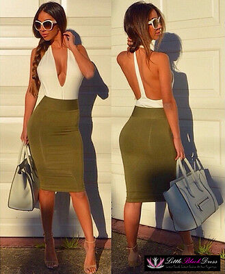 Womens Sexy Green Deep Plunge V Neck Backless Stretch Bodycon Midi Party Dress