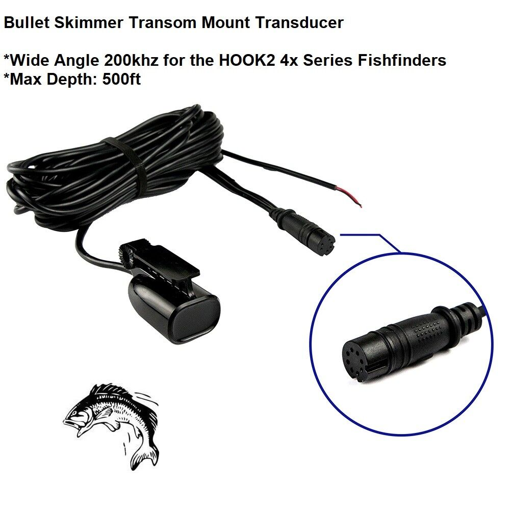 Lowrance Bullet Skimmer Wide Angle 200khz TM Transducer Max Depth  500ft (69123)