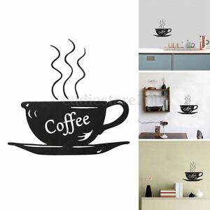 Tea time cup wall stickers coffee cafe home kitchen for Tea and coffee wall art