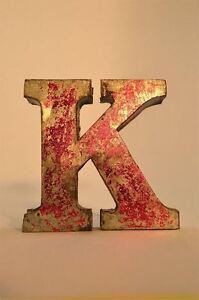 FANTASTIC-RETRO-VINTAGE-STYLE-RED-3D-METAL-SHOP-SIGN-LETTER-K-ADVERTISING-FONT