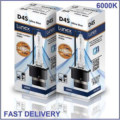 2 x D4S Genuine LUNEX XENON BULB 6000K compatible with XenEco 42402 Xenarc 66440