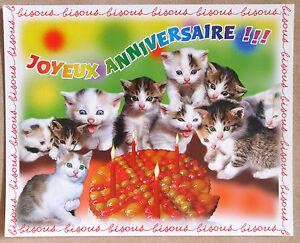 Chats Chatons Mini Poster Cartonne Tres Bon Etat Joyeux Anniversaire Ebay