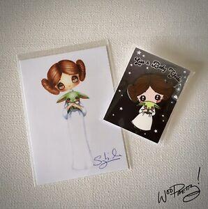 SYBILE ART Star Wars Leia Baby Yoda Signed ACEO Print & Metal Enamel Artist Pin