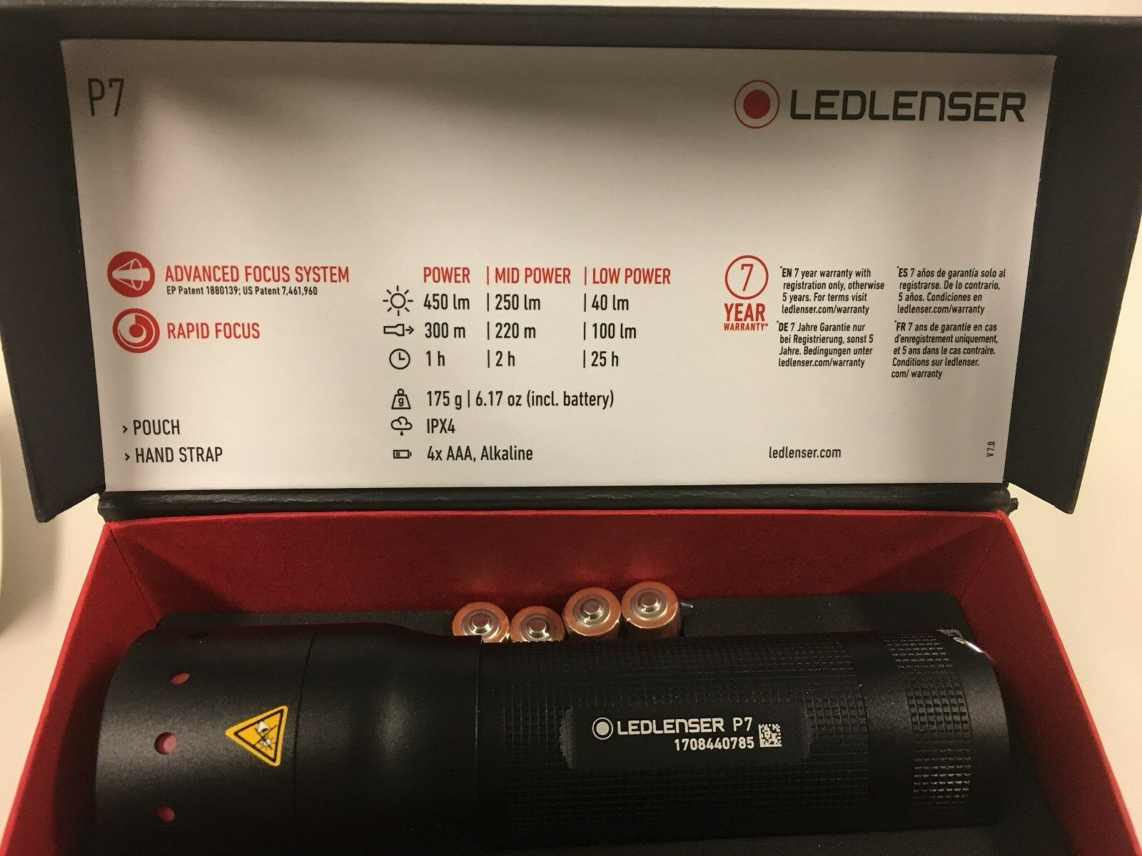 Led Lenser P7 - 450Lm 450Lm 450Lm - 3-stufig Conmutable 353160