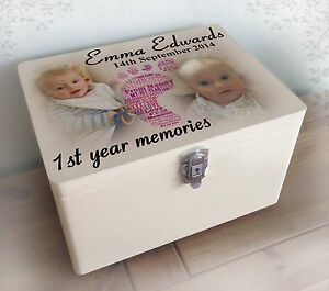 Image Is Loading Personalised Luxury Solid Pine White Wooden Memory Box