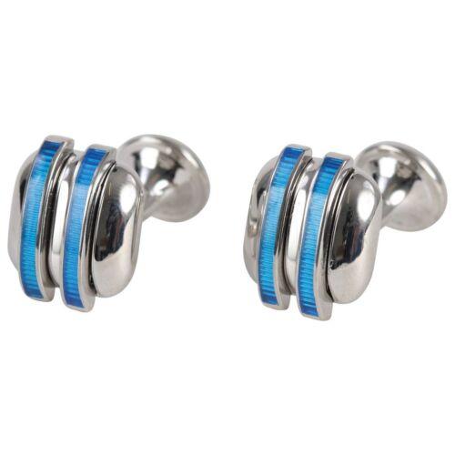 Penrose of London Designer Cufflinks Bermondsey Silver /& Blue RRP £98 #CL48