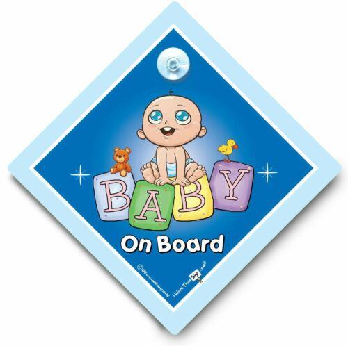 Super Cutie Bleu briques Ventouse Signe Baby Boy On Board Bébé Sur Board Signe