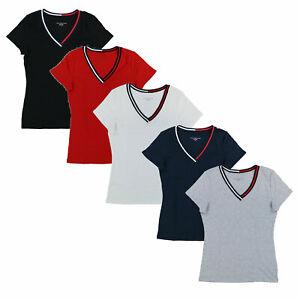Tommy-Hilfiger-Mujer-Cuello-en-V-Camiseta-cinta-Camiseta-Manga-Corta-Bandera-Solido-Nuevo-Nuevo-Con