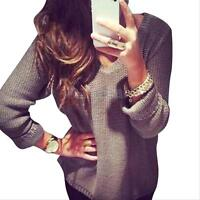 Sexy Womens V-neck Oversized Batwing Slouchy Knit Shirt Jumper Loose Sweater Top