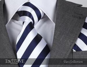 Bleu-Marine-amp-Rayure-Blanche-Cravate-en-soie-amp-Hanky-Design-Italien-MILANO-Exclusive