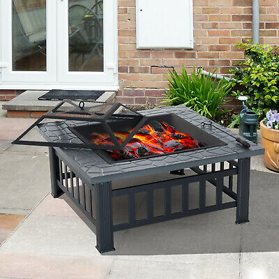 "32"" Square Fire Pit Steel Stove W/Rain Cover Outdoor Backyard BBQ Black"