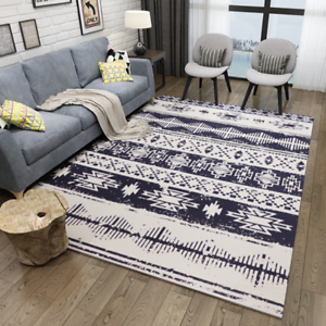 Details About Area Rug Rubber Backing Throw Rugs Door Mat Ethnic Style Geometric Print Carpet