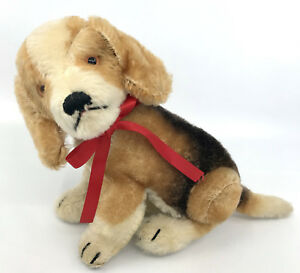 Steiff-Biggie-Beagle-Dog-Mohair-Plush-18cm-7in-1960s-Swivel-Head-no-ID-Vintage