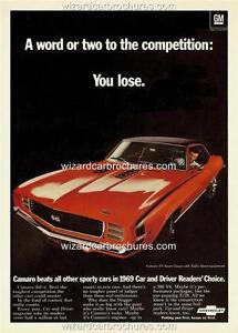 1969 CHEVROLET CAMARO 350 SS A3 POSTER AD SALES BROCHURE ADVERTISEMENT ADVERT