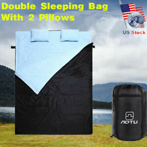 Outdoor-Double-Sleeping-Bag-Pad-23F-5C-2-Person-Camping-Hiking-with-2-Pillow-2h