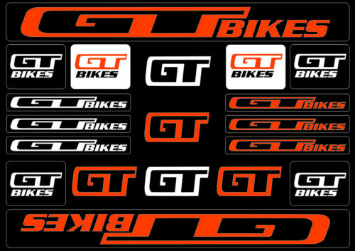 GT Bicycle Bike Frame Decals Sticker Adhesive Graphic Set Vinyl Aufkleber Orange