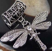 Scarf Pendant Silver Pewter Dragonfly w/Rhinestone Slide