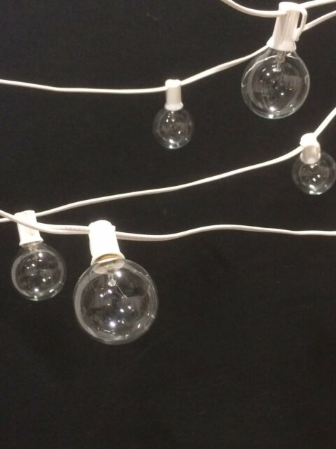 65' Outdoor Patio White Wire G50 Globe Lights, Wedding, Patio, Christmas Set
