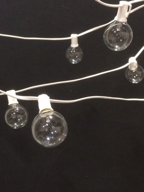 65' Outdoor Patio White Wire G50 Globe Lights, Wedding, Patio, Christmas Set