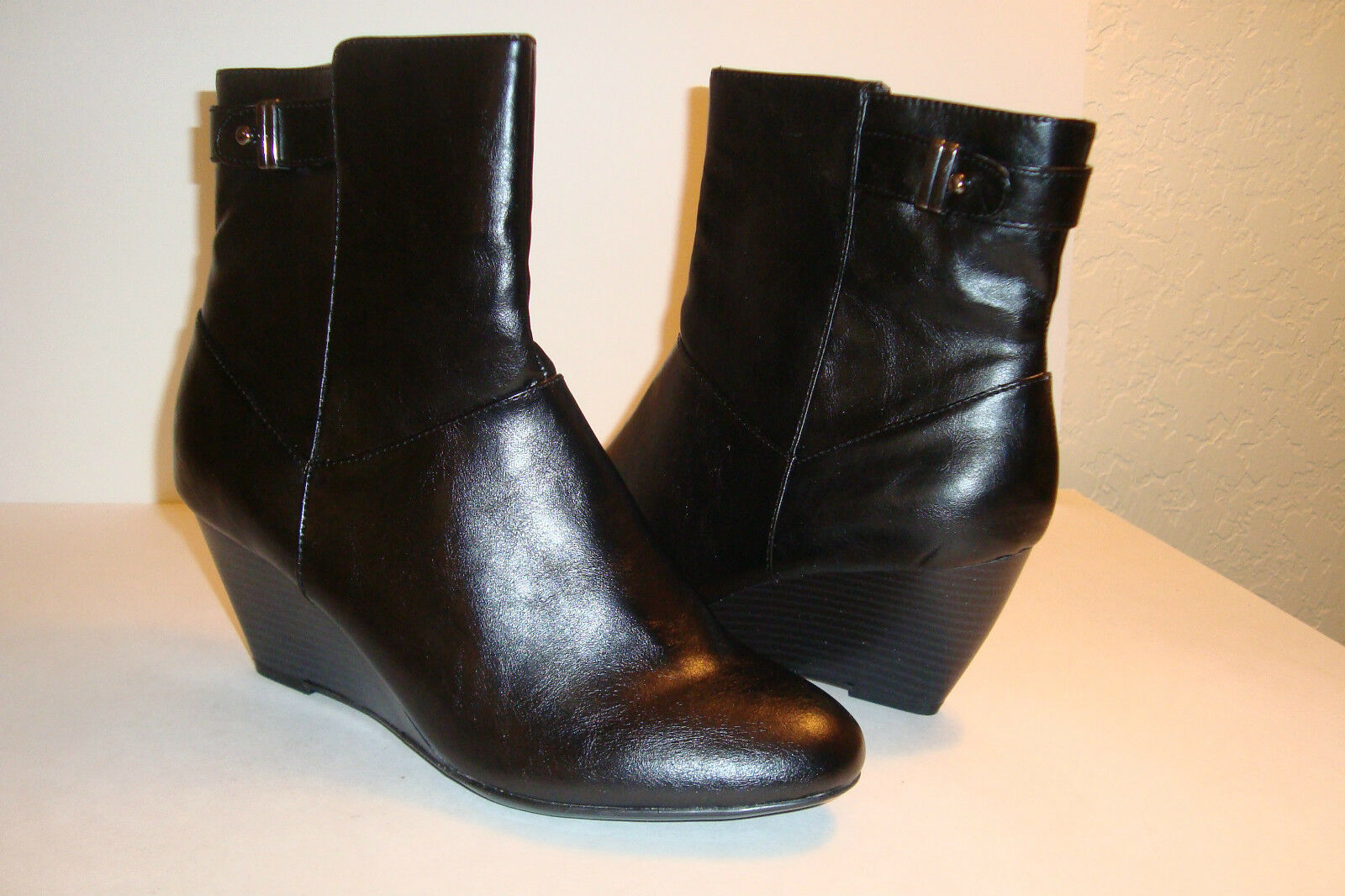 Alfani Step N Flex Womens Nadina NWOB Black Ankle Wedge Boots Shoes 8 MED NEW