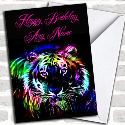 Coloré Tigre Anniversaire Personnalisé carte