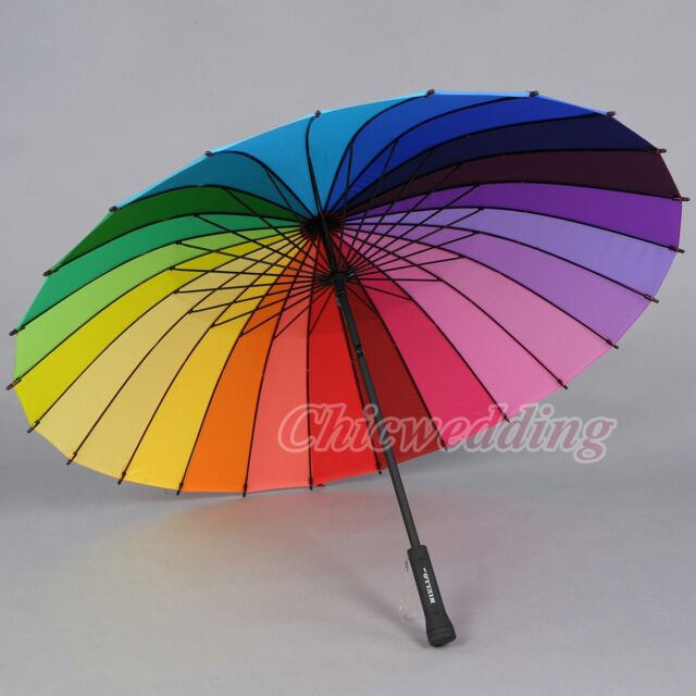 Multicolour Windproof Rainbow Umbrella Pagoda Sun Parasol Wedding Party Favor