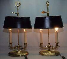 """Pair VTG Frederick Cooper Brass Bouillotte Desk Lamp Stately Directoire 19"""" high"""