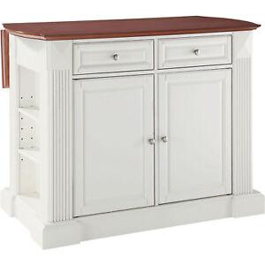 Image Is Loading Drop Leaf Wooden Stationary Kitchen Island Storage Cabinet