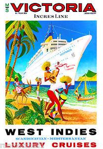 West Indies Caribbean Island Victoria Oceanliner Travel Advertisement Poster