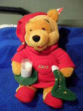 "DISNEY WINNIE THE POOH W MILK CUP PLUSH NWT 13"" TALL candle light up stocking"