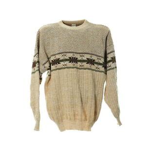 Vintage-Strickpullover-Gr-L-Herren-Sweater-Rundhals-Norweger-Muster