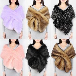 9594dc71a73 Fashion Womens Faux Fur Cross Shawl Weddings Large Wrap Cape Evening ...