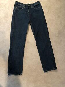 Carhartt Hombres Jeans 34x34 Relaxed Fit Pantalon De Trabajo Azul Oscuro Ebay