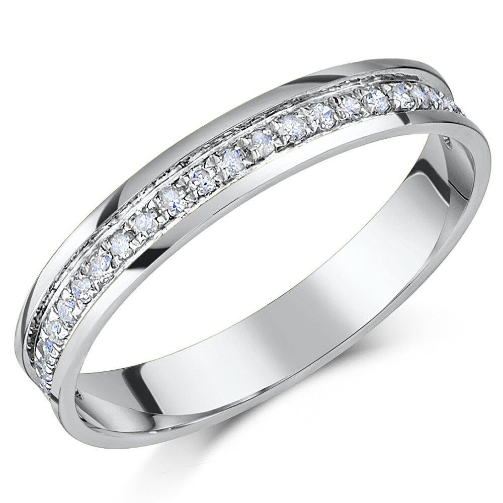 PALLADIO ANELLO ETERNITY con diamante 3mm 0.15ct 3.5mm 0.25CT CT NUOVA