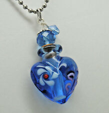 BLUE HEART CREMATION JEWELRY GLASS CREMATION URN NECKLACE MEMORIAL KEEPSAKE