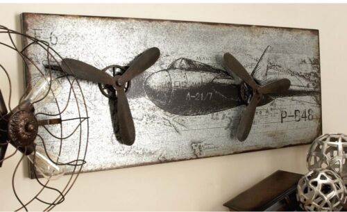 Litton Lane 46 in x 18 in Vintage Airplane Wall Art in Rustic Finish 3D Accents
