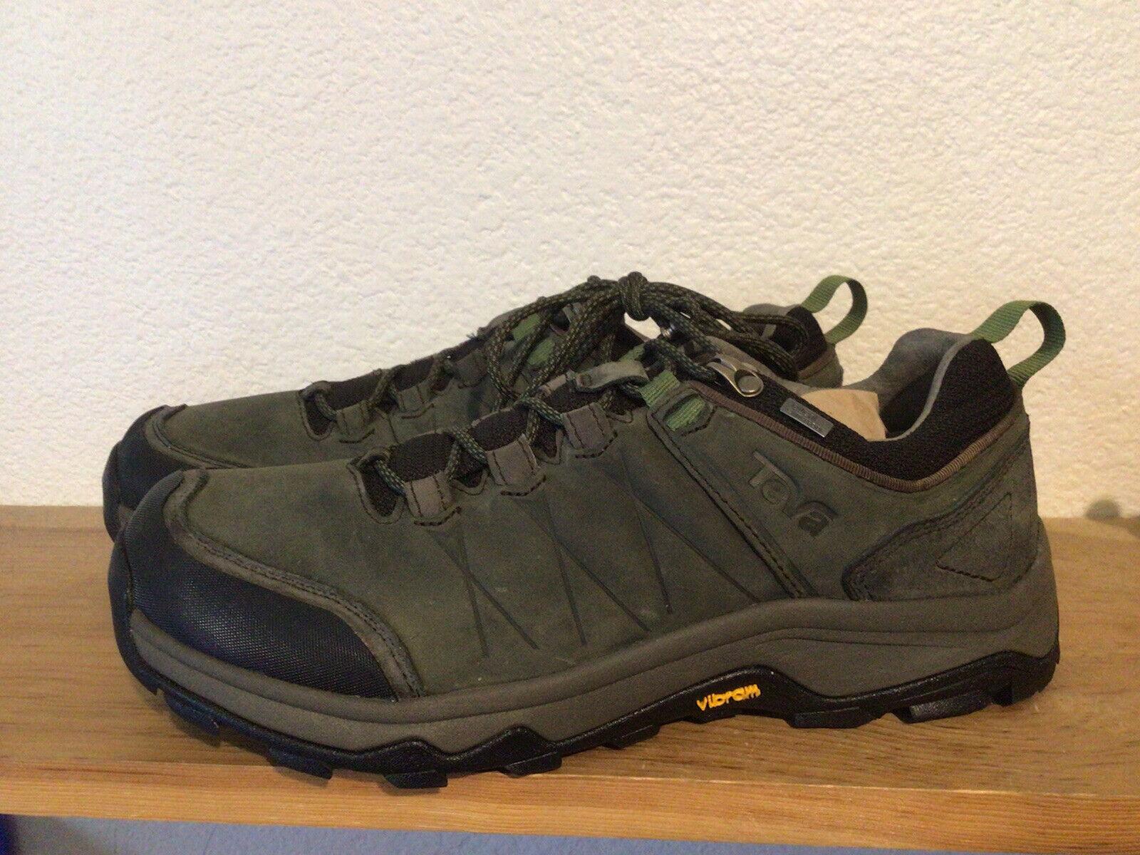 Men's Teva Arrowood Black Olive Trail Hiking Shoes Size 9.5 Waterproof Vibram