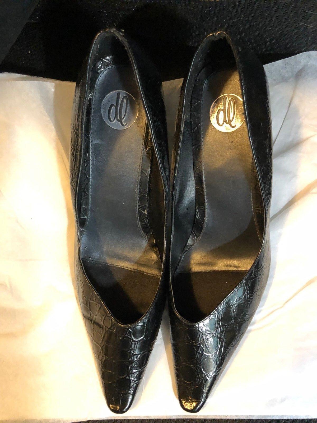 shoes, women LAWRENCE, black snake look, 1 2  narrow toe, 3 1 2  heel, SZ  11M`