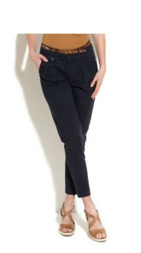 72 URBAN BLISS BELTED CHINO TROUSERS in NAVY COLOR